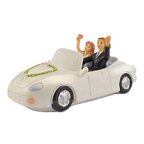 Waving in Car Wedding Couple Cake Topper