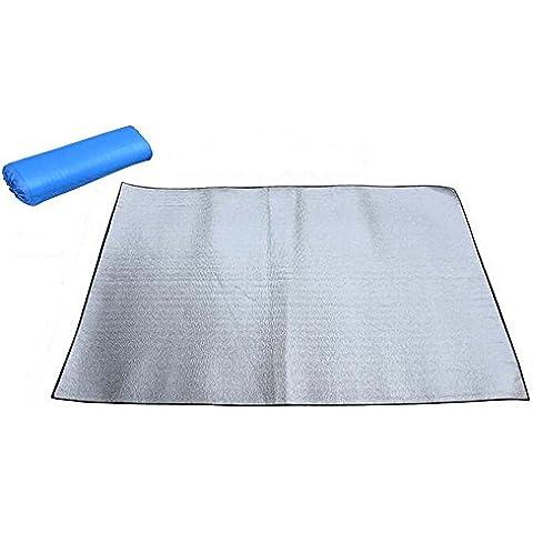 MOACC prova di umidità coperta da picnic tappetino da campeggio spiaggia sonno letto doppio lati in alluminio, 200, Argento