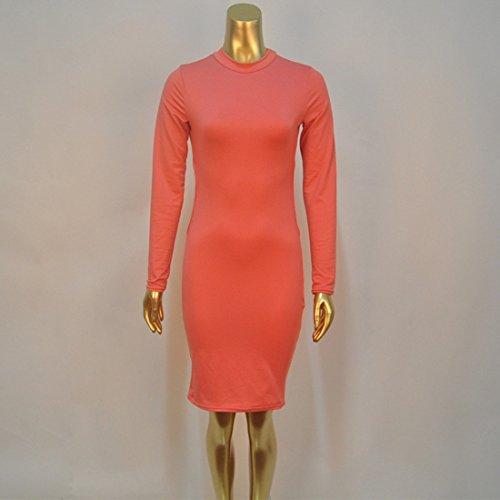 QIYUN.Z Femmes Solide Couleur Svelte Robe Dos Nu Manches Longues En Coton Melanges Mode Orange