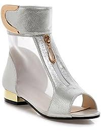AgooLar Mujeres Puntera Abierta Mini Tacón Velcro Sólido Sandalia