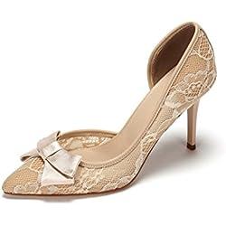 Neue High Heels Temperament flachen Mund Damen Schuhe Spitze Bogen nackten Füße nackten Schuhe ( Farbe : Beige , größe : 37 )