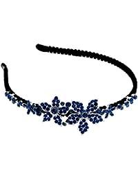 Schmuckanthony Brautschmuck Hochzeit Haarschmuck Haarreif Blumen Kristall Dunkelblau Blau
