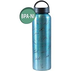 Alusport Bottles FCB Third Botella Deportiva de Aluminio, Hombre, Rayado, 0.6 l