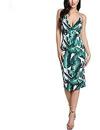 DIKEWANG Femme Robe d été Sexy Dos Nu en Slip Robe Vert Tropical Imprimé  Feuille 627826898ed0