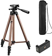 Syvo WT 3130 Aluminum Tripod (50-Inch), Universal Lightweight Tripod with Mobile Phone Holder Mount & Carr