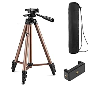 Syvo WT 3130 Aluminum Tripod (50-Inch), Universal Lightweight Tripod with Mobile Phone Holder Mount & Carry Bag for All Smart Phones, Gopro, Cameras