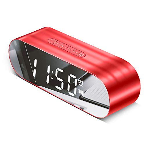 XXLYY FM Radiowecker, Digitaler Bluetooth-Lautsprecher, GroßEs LED Spiegel Display Lauter Stereo-Sound Snooze TF AUX Schlafzimmer BüRo Zuhause Reisewecker Tragbar, Red