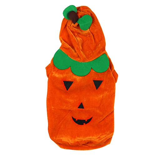Freebily Halloween Haustier Verkleidung Lustige Welpen Haustier Kostüm Hund Katze Kleidung Kürbis/Spinne/Skelette Geist/Superhund/Hexe/Hawkman Kostüm Orange Kürbis Kürbis