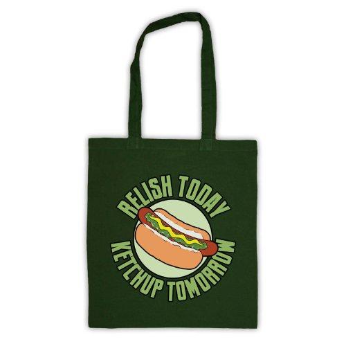 Relish oggi Style-Borsa shopper, motivo: aforismi [lingua inglese] Verde scuro