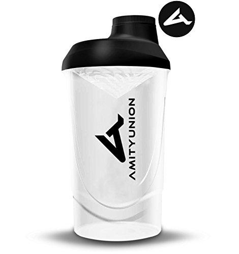 AMITYUNION Protein Shaker Schwarz Weiß Deluxe 800 ml - Eiweiß Shaker auslaufsicher - BPA frei mit Sieb & Skala für Cremige Whey Proteinpulver Shakes - Gym Fitness Becher für Isolate Sport Konzentrate