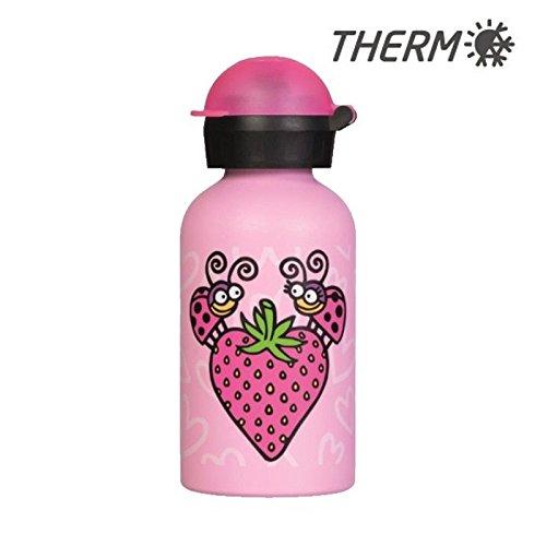 Kukuxumusu Botella Infantil Térmica 0,35L Rosa de Acero Inoxidable Tapón HIT