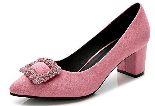 Aalardom Schuhe Damen Metallisch Spitz Pumps Absatz Pink Zehe Mit Mittler HxRpHqw4