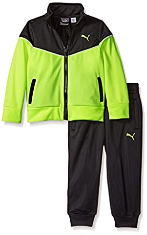 PUMA Boys' Pop Color Track Jacket and Pant Set, Acid Yellow, 4T