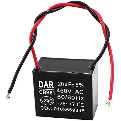 AC 450V 20UF 5% 2 cables de techo eléctrico del motor del ventilador del condensador de inicio