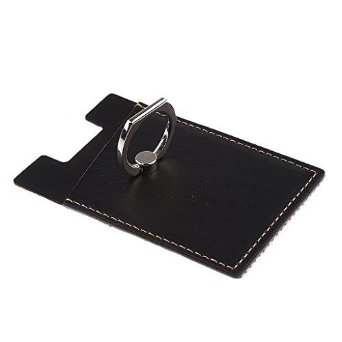 Schwarze Leder-handy-halter (Homyl 3 in 1 Handy Aufklebbarer Kartenhalter & Handy Halter aus Leder mit Handy-Ringhalter für Smartphones - Schwarz)