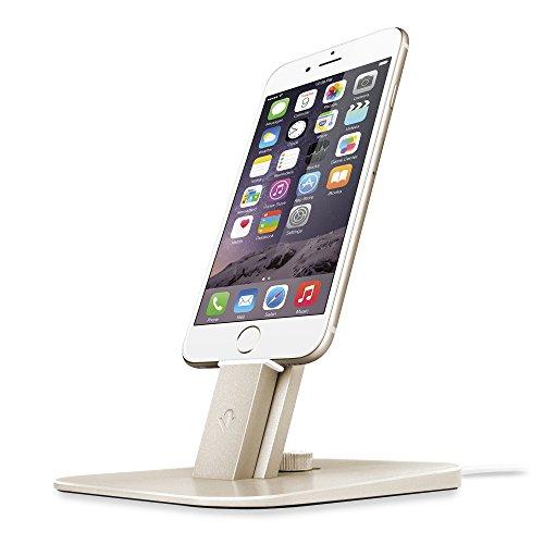 Twelve South HiRise Deluxe Desktop Stand für iPhone, Smartphones (inkl. Lighting-Kabel, Micro-USB Kabel für Laden und Synchronisierung) gold (Apple Remote Desktop)
