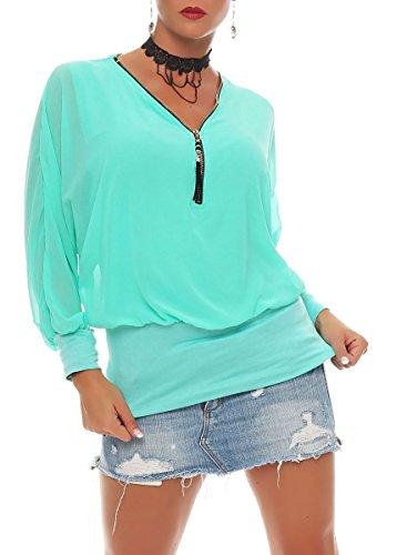 Italienische Damen Langarm (Malito Damen Bluse IM Fledermaus Look | Tunika mit Zipper | Kurzarm Blusenshirt mit Breitem Bund | Elegant – Shirt 6297 (Türkis))