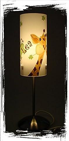 Tischlampe, Kinderzimmer Lampe, Nachttischleuchte, Kinderlampe, Schlummerlampe, Baby Lampe, mit Namen, mit Stecker für Steckdose, für LED Leuchtmittel geeignet, Junge, Mädchen, Giraffe, Tiere