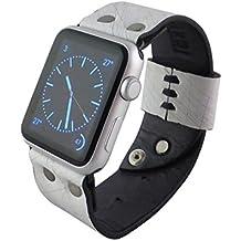 Cinturino Apple Watch 42mm in pelle Bianco, Minardi Italian Handmade Corvara, Morbida pelle con Chiusura Rapida a Perno, Bracciale Strap Band for Apple Watch Band Series 1&2 (42mm Bianco)