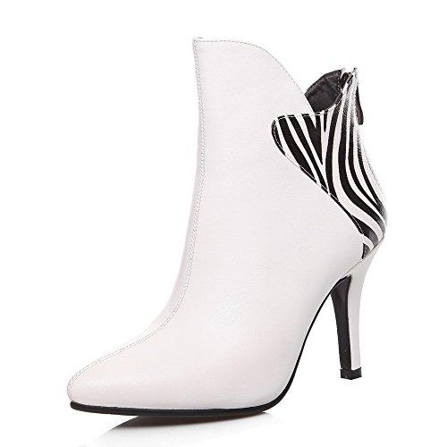 AllhqFashion Damen Gemischte Farbe Hoher Absatz Spitz Zehe Reißverschluss Stiefel Weiß