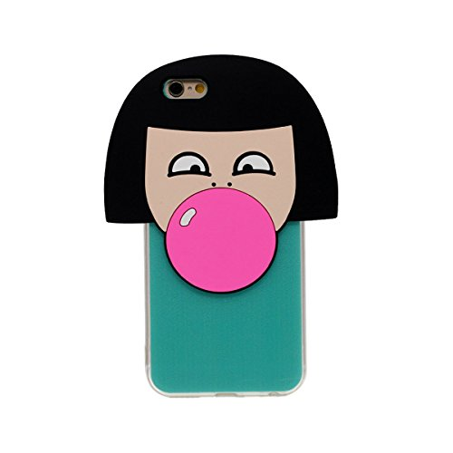 iPhone 6S Coque Case Transparente Sides Anti choc Svelte & Lumiere, Flexible TPU Gel Étui Apple iPhone 6 4.7 Pouce, Origine Conception 3D [Une Fille Souffler Balloon] Forme - Rouge Cyan