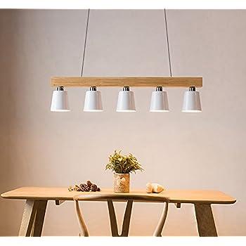 suspension dimmable 5w lampe led bois plafonnier hauteur r glable lustre plafond lampe blanc. Black Bedroom Furniture Sets. Home Design Ideas