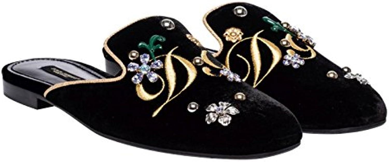 Zapatillas de Mujer Dolce & Gabbana en Terciopelo Negro - Número de Modelo: CI0007 AG948 89718