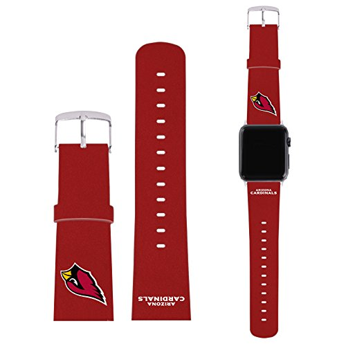 Offizielle NFL Einfarbig Arizona Cardinals Logo Rot Synthetik-Lederband & Schnalle für 38mm Strap & Grey Adapter Kit (Schnalle Arizona)