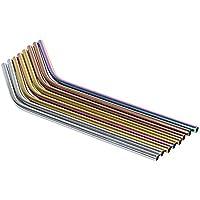 SovelyBoFan Paquet de 10 Pailles reutilisables de Couleur en Acier Inoxydable Comprend 2 Longues brosses de Nettoyage