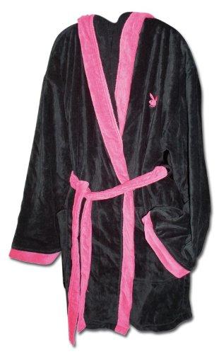 (Playboy Damen Kimono - XS - pink/schwarz (black-raspberry) Bademantel)