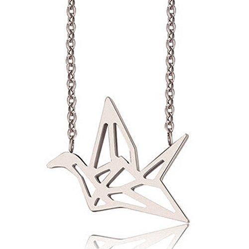 Plata de ley con forma de cisne de Origami Crane Idea de regalo para joyería Collar colgante diario