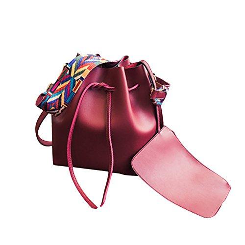 Machen Drawstring Handtasche (NiNE CiF Frauen Tote Schulter Handtasche Retro Mode Drawstring Eimer Tasche (Rot))