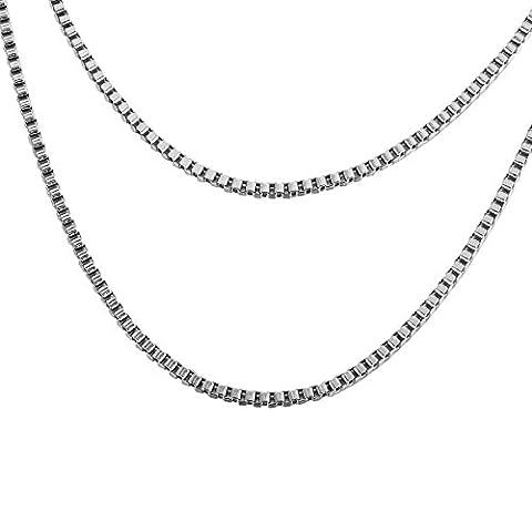 HOUSWEETY Acier Inoxydable Chaine / Collier Maille Venitienne Box Chain Necklace pour Femme et Homme Longueur 45CM