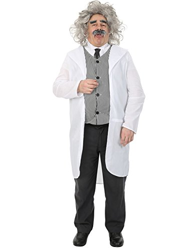Herren Albert Einstein Wissenschaftler Professor Doktor Karneval Kostüm Extra Large