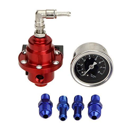 KKmoon Prestazioni Elevate Regolabile Carburante Regolatore di Pressione con Olio Riempito Manometro per Auto