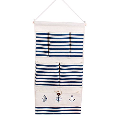gudehome-rayures-bleues-vintage-gadgets-titulaire-wall-hanging-sac-draps-coton-fabric-6-poches-porte