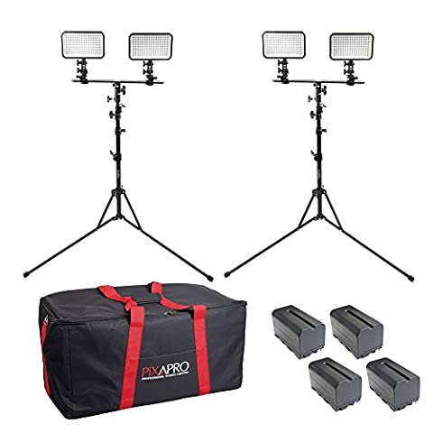 PIXAPRO® LED170 Twin Dual Kit With Batteries, Stand and Carry Bag Daylight Dimmable On Camera LED Lighting Video Interview YouTube VLOG *2 Year UK Warranty *Fast Delivery *UK Stock *VAT Registered … (Twin Dual Kit, With Batteries, Stand and Carry