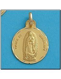 LIOR -Colgante -Medalla Oro de Ley 18k(750) Virgen Guadalupe (Mexico) 21mm