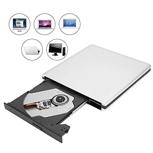 ASHATA Blu-ray Brenner USB 3.0 Externer Burner,Portable USB 3.0 3D Externer Blu-Ray Brenner Burner,Aluminium High Speed Slim Blueray Rom 3D Laufwerk BD DVD CD für Desktop/Notebook Silber
