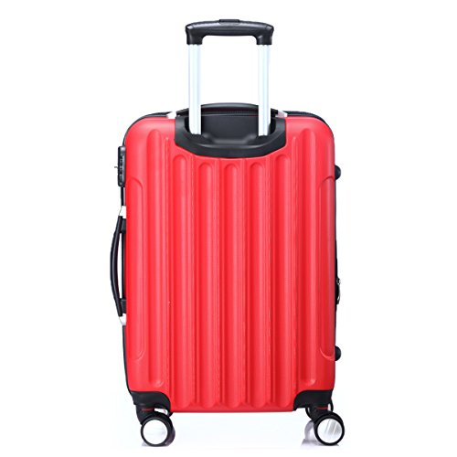 Zwillingsrollen 2050 Hartschale Trolley Koffer Reisekoffer in M-L-XL-Set in 12 Farben Rot
