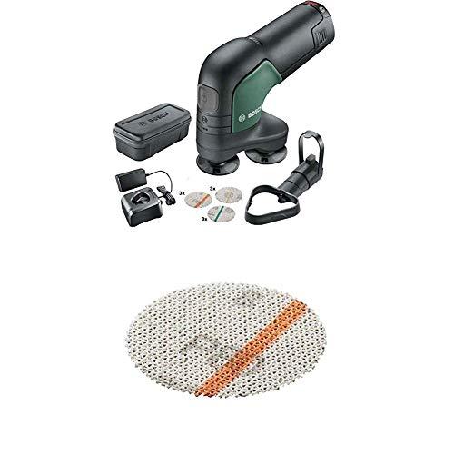 Bosch Akku Schleifer und Polierer EasyCurvSander 12 (1 Akku, 12 Volt System, in Softbag) + Zubehör (12 Schleifnetze für Holz und Farbe, Ø 40 mm, Körnung K80)