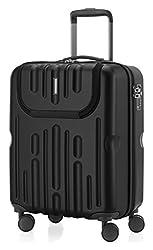HAUPTSTADTKOFFER - Havel - Handgepäck mit Laptop-Fach Hartschalen-Koffer Kabinen-Trolley Rollkoffer, TSA, 54 cm, 41 Liter, Schwarz