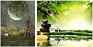 Pitaara Box Fantasy Landscape in The Garden with Big Moon Canvas Painting MDF Frame 18 X 24inch & Spa Gard