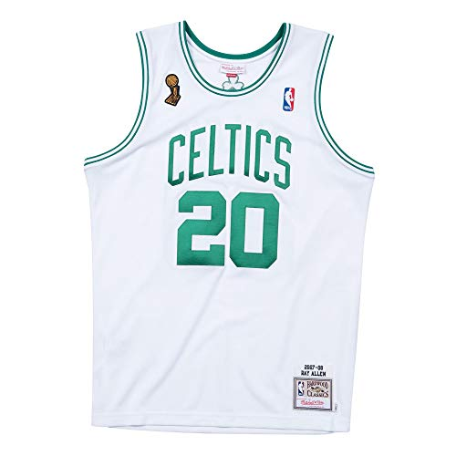 Mitchell & Ness BLU-Ray Todos # 20 Boston Celtics 2007 – 08 Authentic NBA Camiseta Blanco, Extra-Large