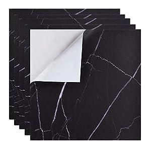 Irich Wasserdicht Selbstklebende Fliesenaufkleber 30 * 30CM, Fliesensticker Badezimmer Schmutzige Widerstände Stickerfliesen für Renovieren Küche Bad Wände Deko (5 Stück Schwarz)