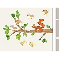 Wandtattoo Ast I. mit Baby-Vögeln und Eichhörnchen Waldtiere Wandaufkleber für Kinderzimmer