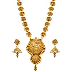Jfl - Jewellery For Less One Gram Gold Plated Flower Floral Necklace Set For Women