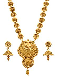 JFL - Jewellery for Less Golden One Gram Gold Plated Necklace Set For Women