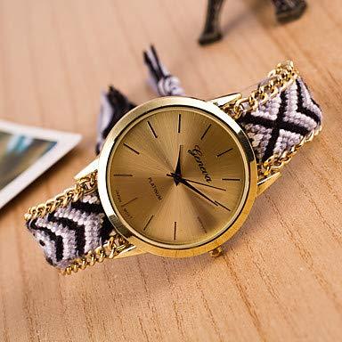 XKC-watches Herrenuhren, Damen Armbanduhr Quartz Wickeln Nylon Weiß/Orange/Gold Armbanduhren für den Alltag lieblich Analog Damas Retro Böhmische - Rosa Dunkelrot Leicht Grün (Farbe : Schwarz)