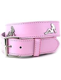 Sexy ceinture en cuir véritable, avec Pin-Up en métal argent. Produit offert par NYfashion101.